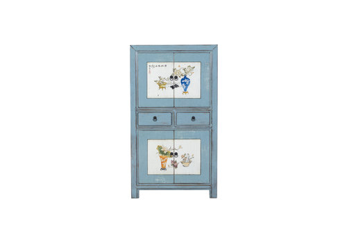 Fine Asianliving Antique Chinese Cabinet Designed Patterns Hand Painted Blue