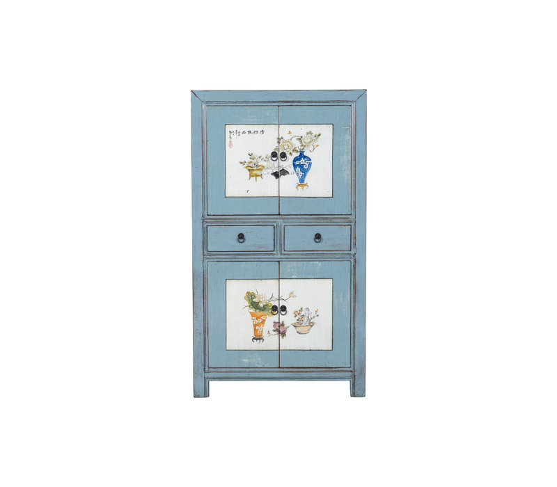 Antique Chinese Cabinet Designed Patterns Hand Painted Blue