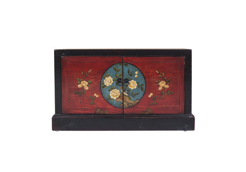 Fine Asianliving Chinese Storage Chest Hand Painted Auspicious Patterns Black & Red