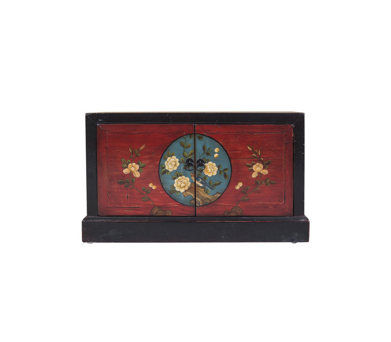 Chinese Storage Chest Hand Painted Auspicious Patterns Black & Red