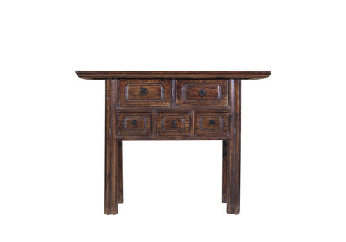 Fine Asianliving Chinese Side Table with Drawers Designed Hand Painted Brown