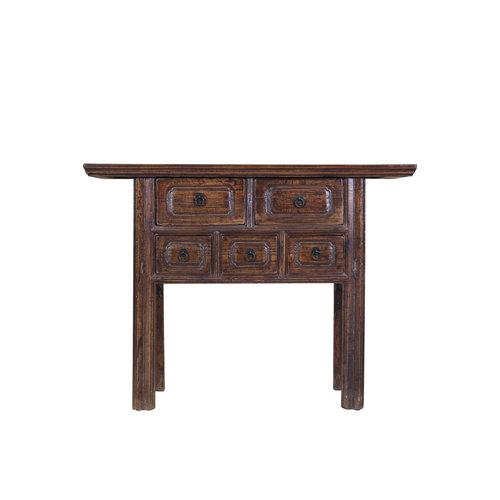 Table d'appoint chinoise avec tiroirs conçue peinte à la main en brun