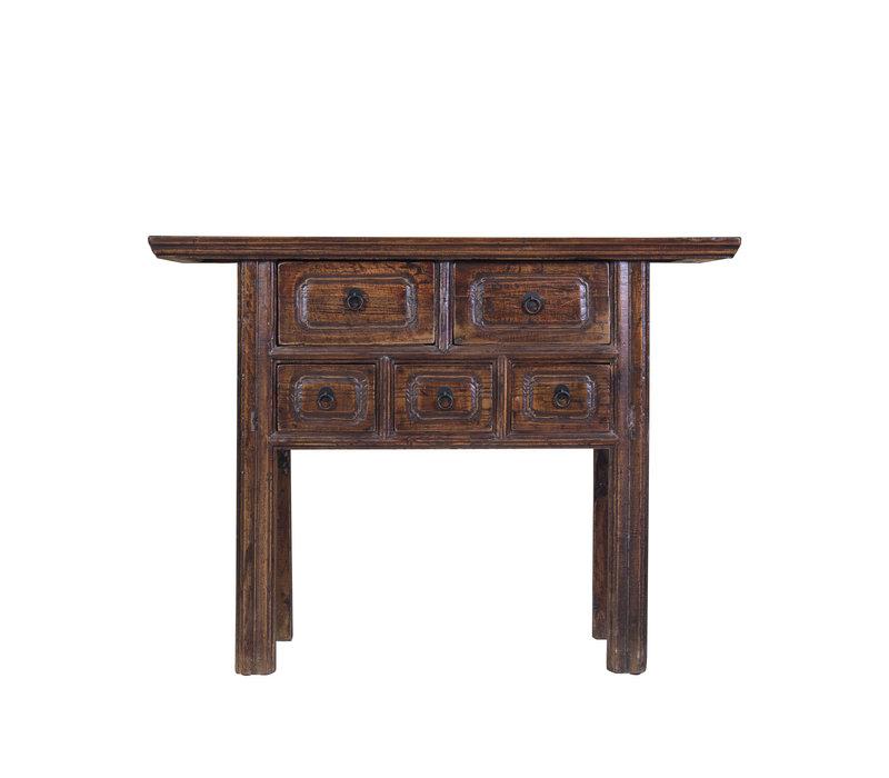 Chinesischer Konsolentisch Beistelltisch mit Schubladen Handbemalt Braun