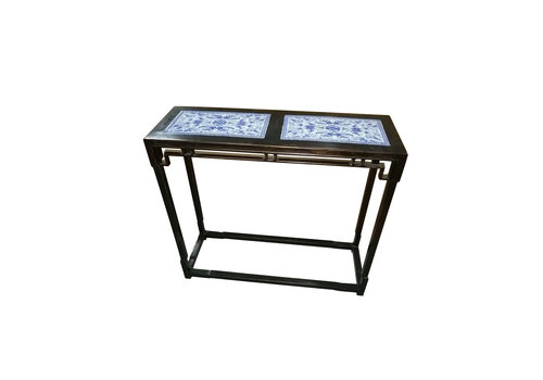 Fine Asianliving Traditional Chinese Side Table Hand Painted Blue-White Patterns - Zhejiang