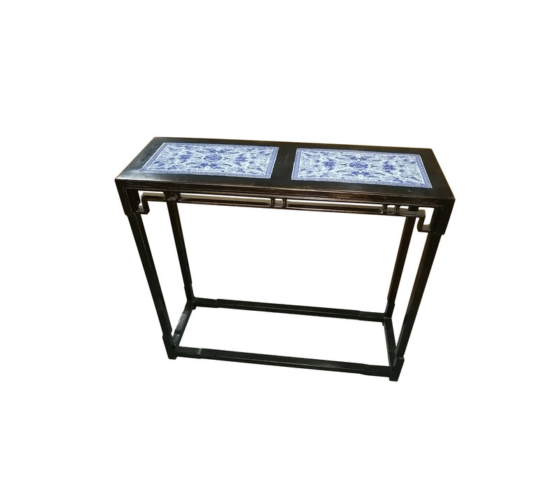 Traditional Chinese Side Table Hand Painted Blue-White Patterns - Zhejiang