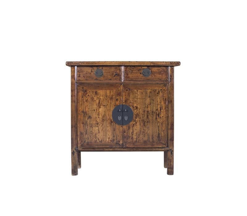 Armoire chinoise peinte à la main marron - Shangdong