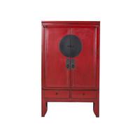 Grande Armoire Chinoise Antique Peinte à la Main en Rouge - Ningbo
