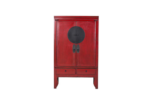 Fine Asianliving Antique Chinese Large Cabinet Hand Painted Red - Ningbo