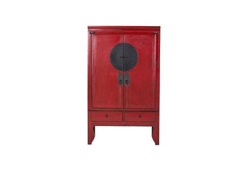 Fine Asianliving Grande Armoire Chinoise Antique Peinte à la Main en Rouge - Ningbo
