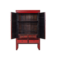 Antique Chinese Large Cabinet Hand Painted Red - Ningbo