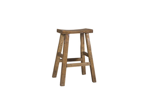Fine Asianliving Tabouret de selle en orme massif chinois traditionnel marron taille moyenne