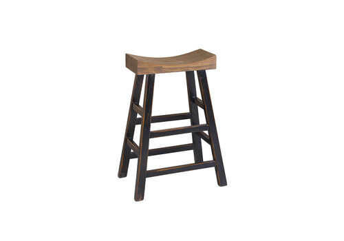 Fine Asianliving Chinese Traditional Solid Elmwood High Saddle Stool Brown