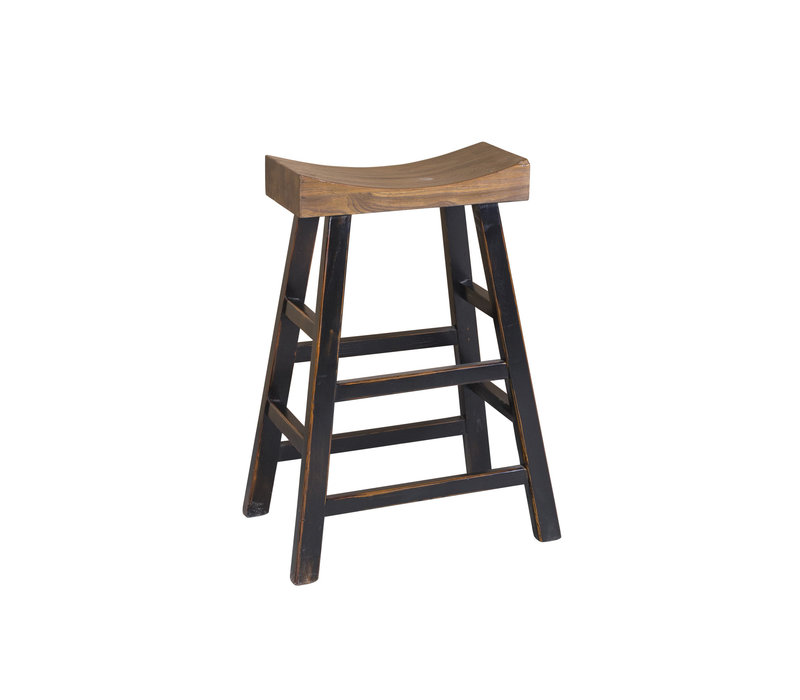 Chinese Traditional Solid Elmwood High Saddle Stool Brown