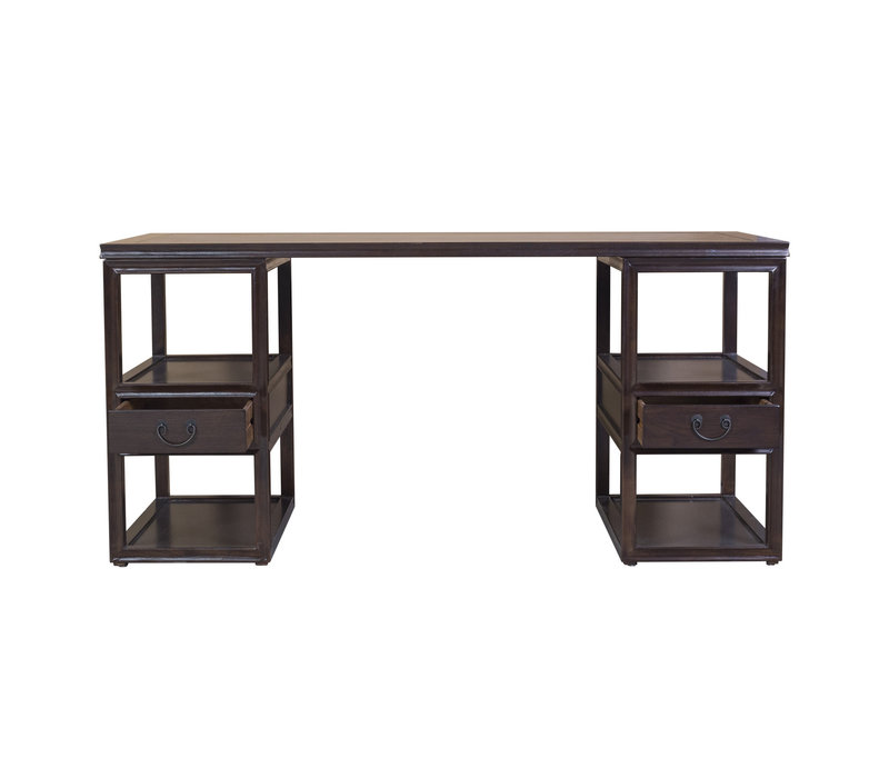 Chinees Office Desk Traditional Designed Hand Painted Brown Black
