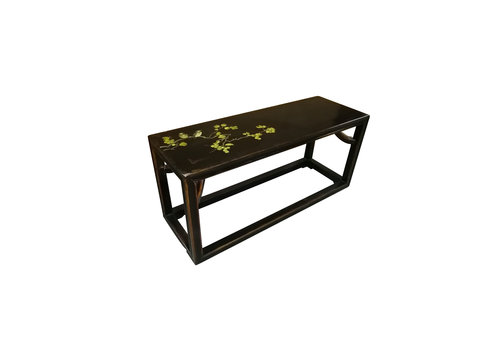 Fine Asianliving Chinese Bench Solid Elmwood Bench Flowers Spring Black