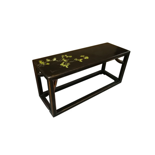 Chinese Bench Solid Elmwood Bench Flowers Spring Black