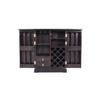 Chinese Wine Cabinet Traditional Dark Brown