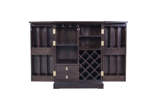 Fine Asianliving Chinese Wine Cabinet Traditional Dark Brown W80xD45xH109cm