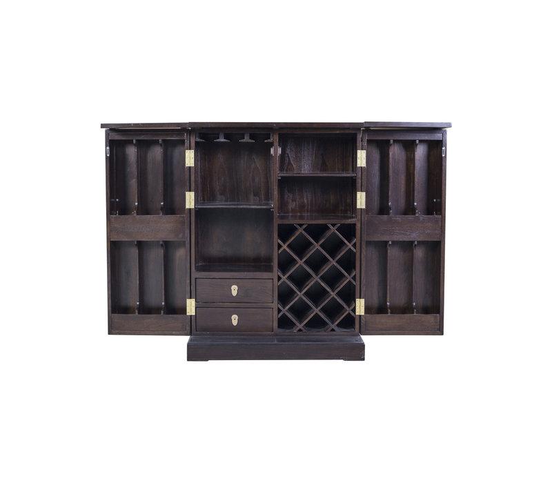 Chinesisches Weinschrank Traditionell Dunkelbraun