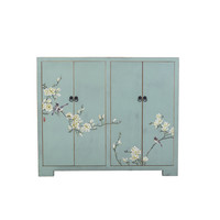 Chinese Shoe Cabinet Blossoms Handpainted Blue