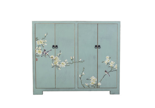 Fine Asianliving Chinese Shoe Cabinet Blossoms Handpainted Blue