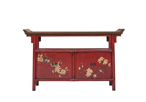 Fine Asianliving Chinees Dressoir Handbeschilderd Rood Tibetan Inspired