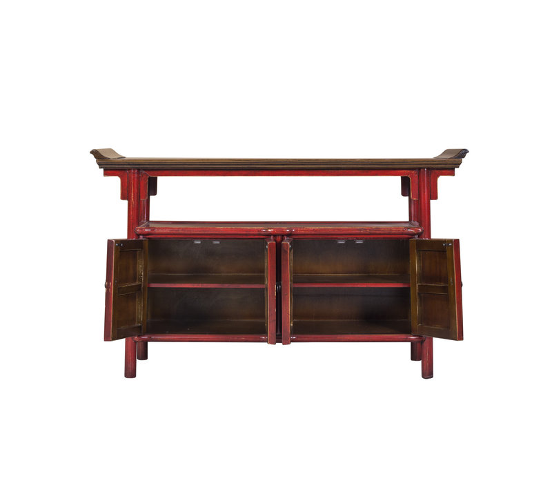 Chinese Sideboard Handpainted Red Tibetan Inspired