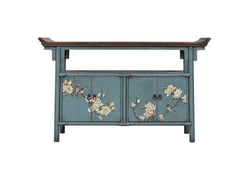 Fine Asianliving Chinese Sideboard Handpainted Blue Tibetan Inspired