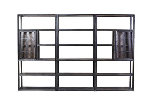 Fine Asianliving Chinesisches Bücherregal Modern Offen 3-teilig Massivholz B300xT35xH200cm
