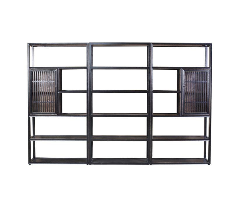 Chinesisches Bücherregal Modern Offen 3-teilig Massivholz B300xT35xH200cm