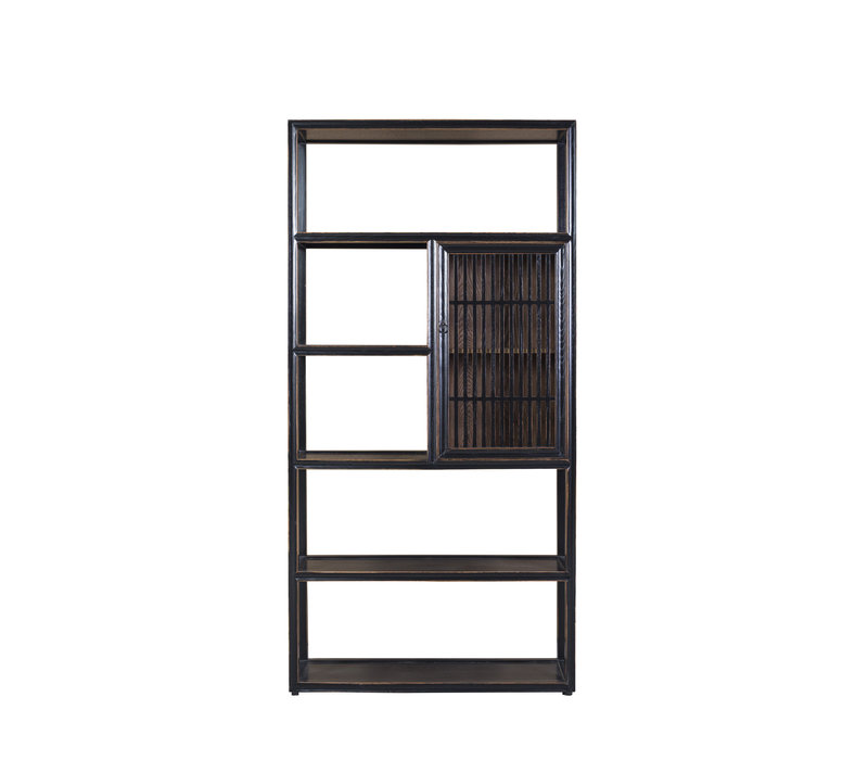 Chinese Bookcase Open Cabinet 3-part Modern Solid Wood