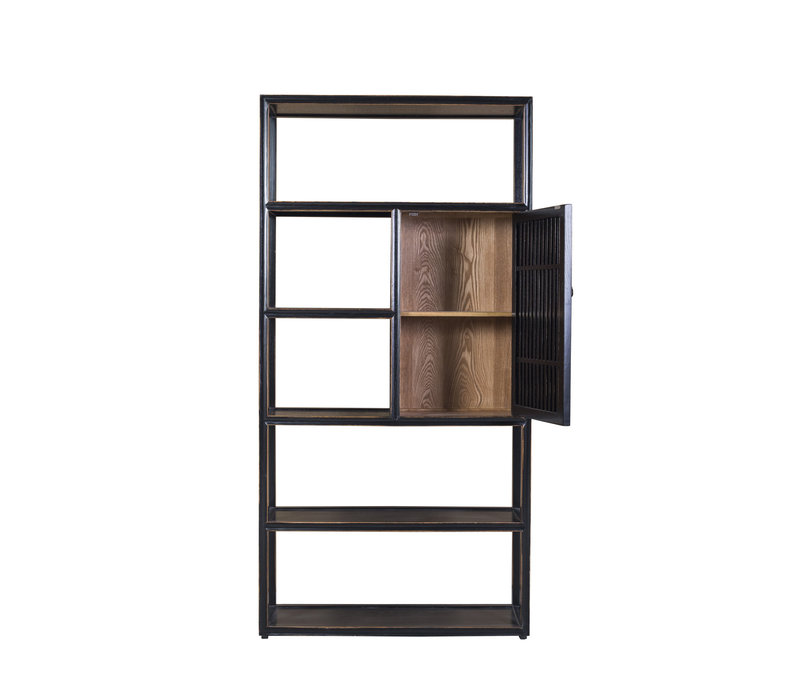 Chinese Bookcase Open Cabinet 3-part Modern Solid Wood W300xD35xH200cm