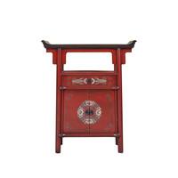 Chinese Cabinet Handpainted Red Tibetan Inspired