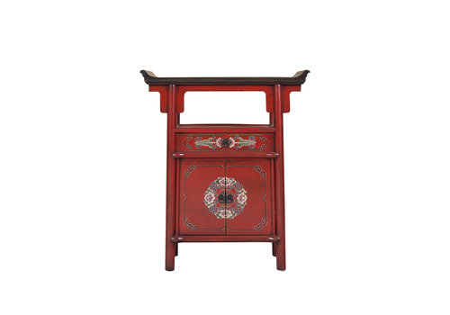 Fine Asianliving Chinese Cabinet Handpainted Red Tibetan Inspired