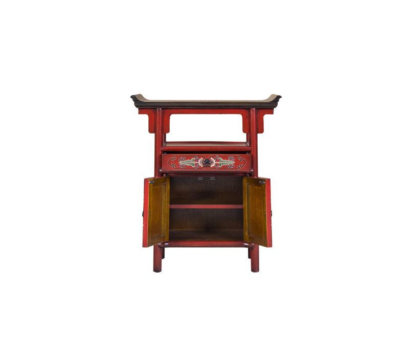 Chinees Kastje Handbeschilderd Rood Tibetan Inspired