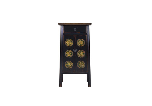Fine Asianliving Chinese Cupboard Handcrafted Black Tibetan Inspired