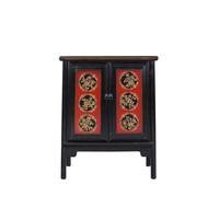 Chinese Kast Tibetaans Inspired Handgegraveerd Rood Zwart