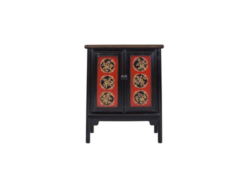 Fine Asianliving Chinese Cabinet Hand-painted Red Auspicious Patterns Black
