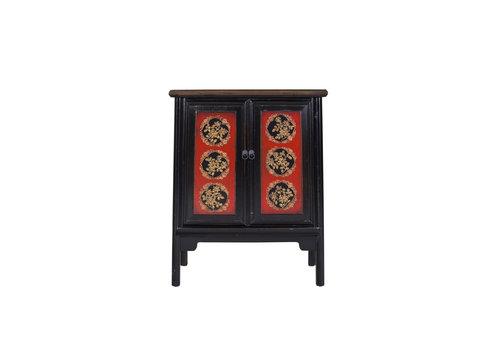 Fine Asianliving Chinese Kast Tibetaans Inspired Handgegraveerd Rood Zwart