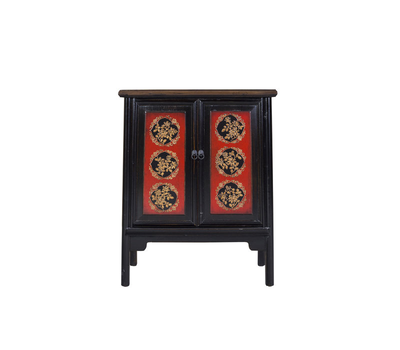 Chinese Cabinet Hand-painted Red Auspicious Patterns Black