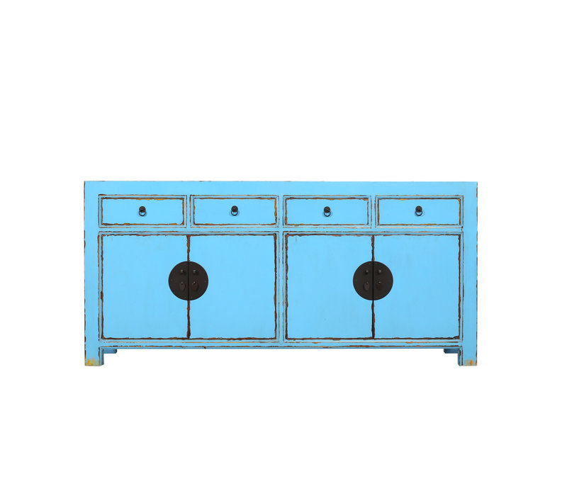Fine Asianliving Chinese Sideboard Chest of Drawers Dresser Cabinet L180xW40xH85cm Sky Blue