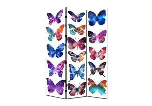 Fine Asianliving Paravent en Toile L120xH180cm 3 Panneaux Papillons