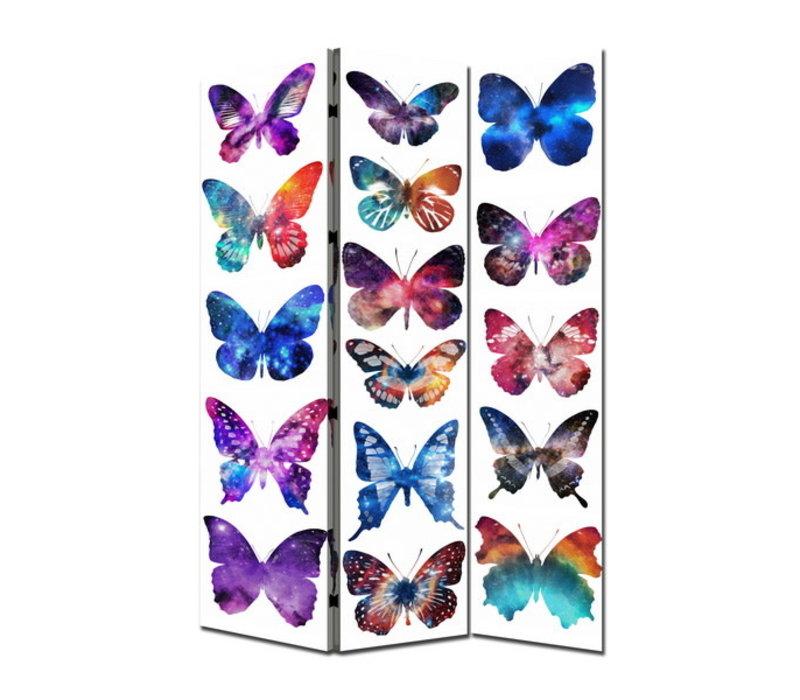 Paravent Raumteiler Trennwand 3-teilig Schmetterlinge B120xH180cm