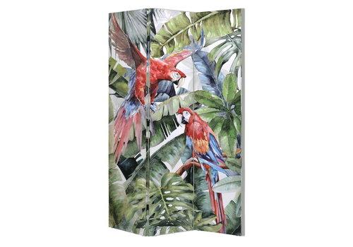 Fine Asianliving Fine Asianliving Kamerscherm 3 panelen Botanic Garden Parrots Papegaai L120xH180cm