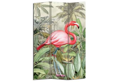 Fine Asianliving Paravent en Toile L120xH180cm 3 Panneaux Botanique Flamant