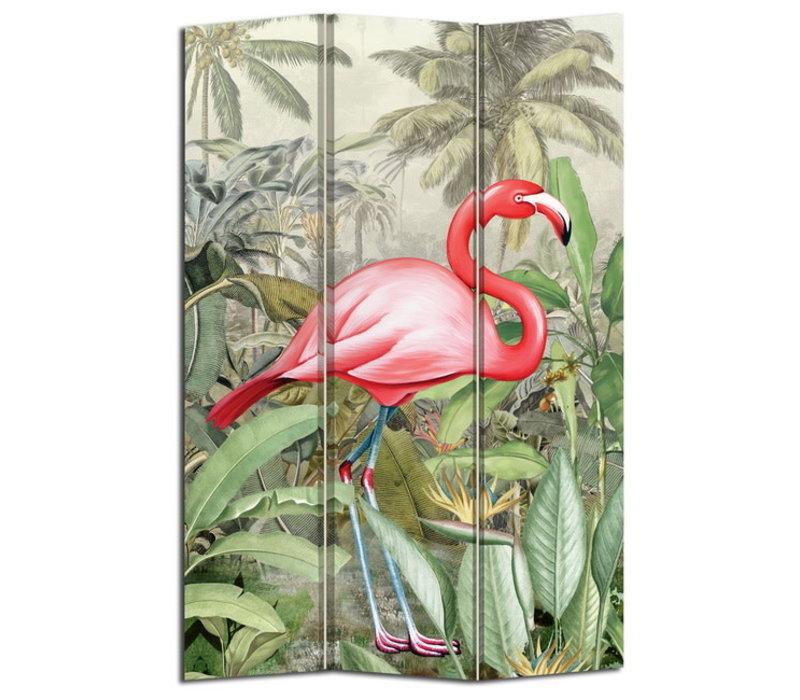 Kamerscherm Scheidingswand B120xH180cm 3 Panelen Botanisch Flamingo