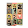 Fine Asianliving Room Divider Privacy Screen 3 Panels W120xH180cm Animals