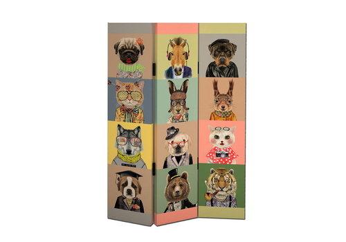 Fine Asianliving Biombo Separador de Lienzo 3 Paneles Animales Anch.120 x Alt.180 cm