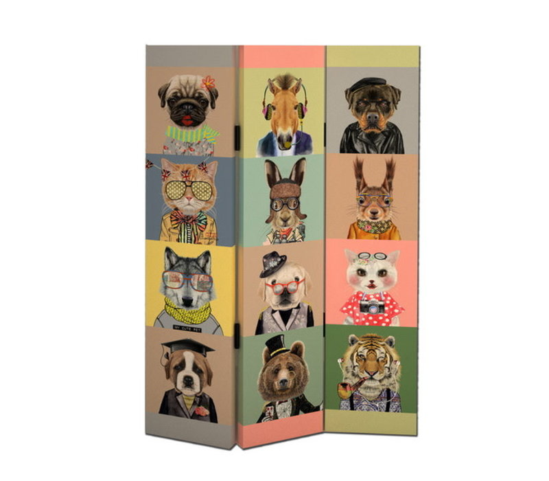Room Divider Privacy Screen 3 Panels W120xH180cm Animals
