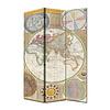 Fine Asianliving Biombo Separador de Lienzo 3 Paneles Mapa Mundial Anch.120 x Alt.180 cm